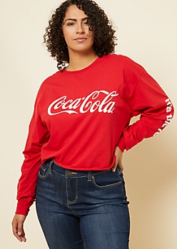 Plus Red Coca Cola Real Thing Skimmer Tee