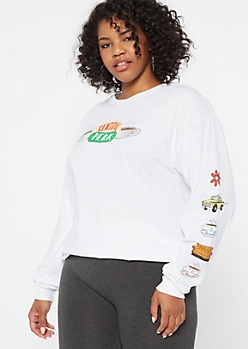 Plus White Central Perk Long Sleeve Graphic Tee