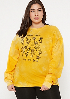 Plus Yellow Tie Dye Save Bees Graphic Tee
