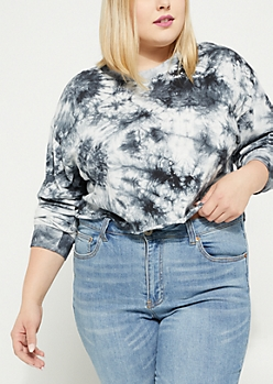 Plus Black Crystal Tie Dye Crop Top