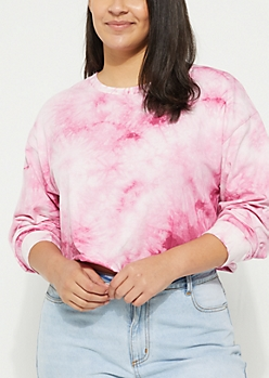 Plus Fuchsia Crystal Tie Dye Crop Top
