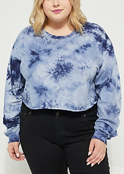 Plus Navy  Tie Dye Long Sleeve Crop Top