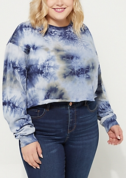Plus Rusted Navy Crystal Tie Dye Crop Top