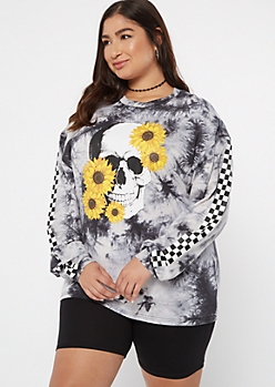 Plus Black Tie Dye Sunflower Skull Graphic Tee