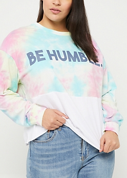 Plus Tie Dye Be Humble Long Sleeve Crop Top