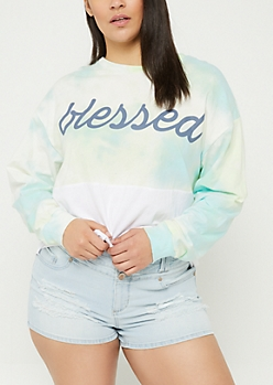Plus Tie Dye Blessed Long Sleeve Crop Top
