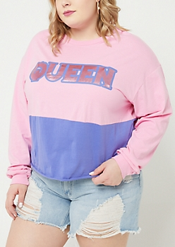 Plus Pink Queen Long Sleeve Crop Top