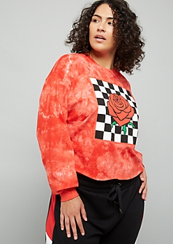 Plus Red Tie Dye Checkered Print Rose Graphic Skimmer Tee