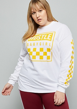 Plus White Hustle Baby Girl Checkered Print Graphic Tee