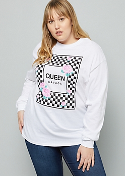 Plus White Checkered Print Rose Queen Graphic Tee