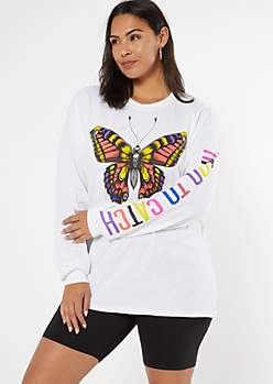 Plus White Hard To Catch Long Sleeve Graphic Tee