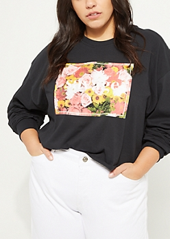 Plus Savage Floral Print Black Crop Top
