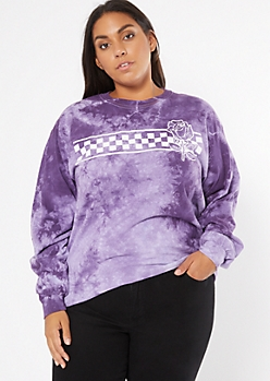 Plus Purple Tie Dye Checkered Print Graphic Tee