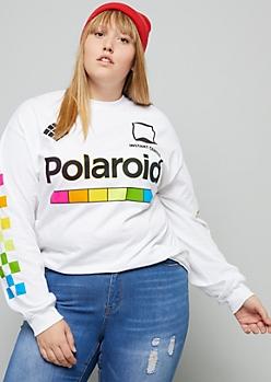 Plus White Rainbow Polaroid Checkered Print Tee