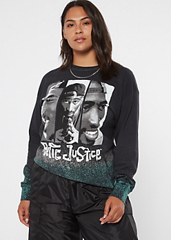 Plus Airbrush Gradient Poetic Justice Long Sleeve Graphic Tee