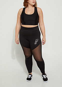 Plus San Antonio Spurs Mesh Knee Leggings