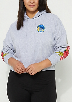 Plus Golden State Warriors Floral Print Cropped Hoodie