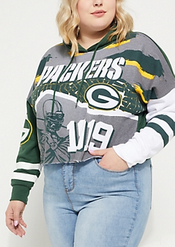 Plus Green Bay Packers Graphic Crop Hoodie