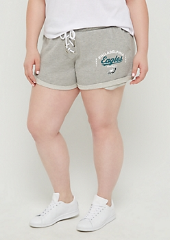 Plus Philadelphia Eagles Lace Up Knit Shorts