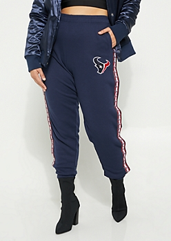 Plus NFL Houston Texans Navy Side Striped Joggers